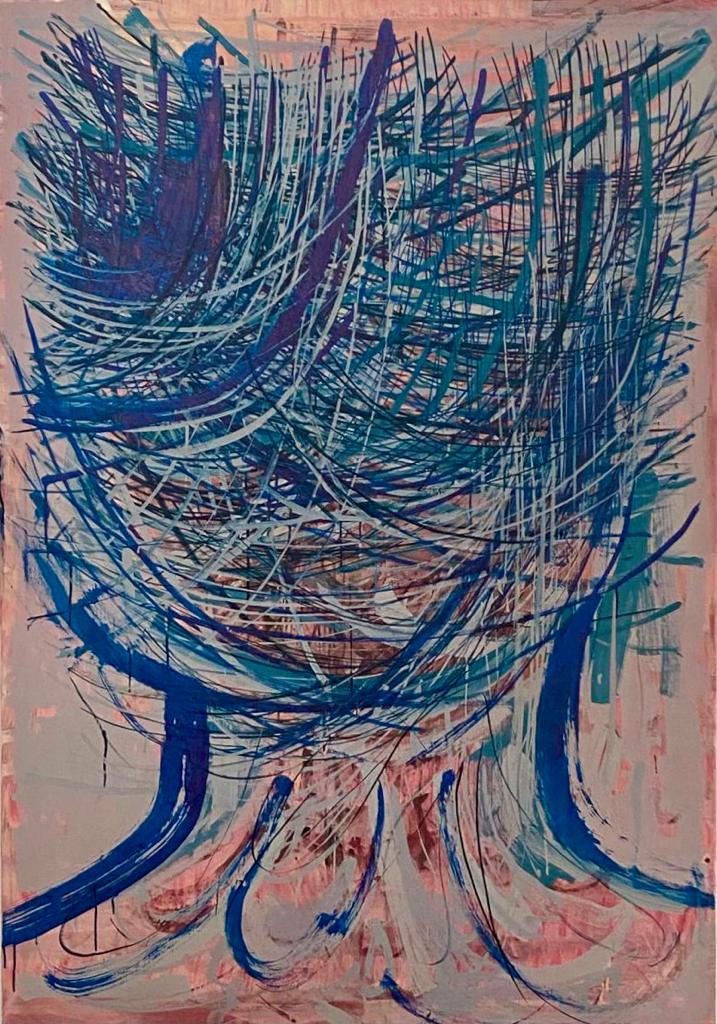 Yvonne Andreini, Kopf, 2021, 120 x 160 cm, Tusche und Öl auf Leinwand
