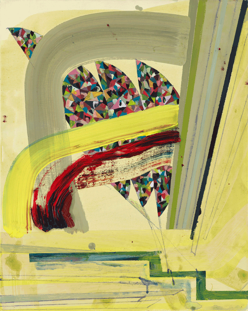 Yvonne Andreini, Multicolor Brain III, 2021, 50 x 70 cm Tusche und Öl auf Leinwand