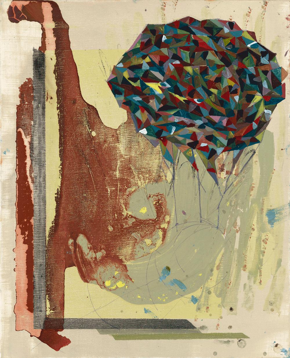Yvonne Andreini, Multicolor Brain I, 2021 50 x 70 cm Tusche und Öl auf Leinwand