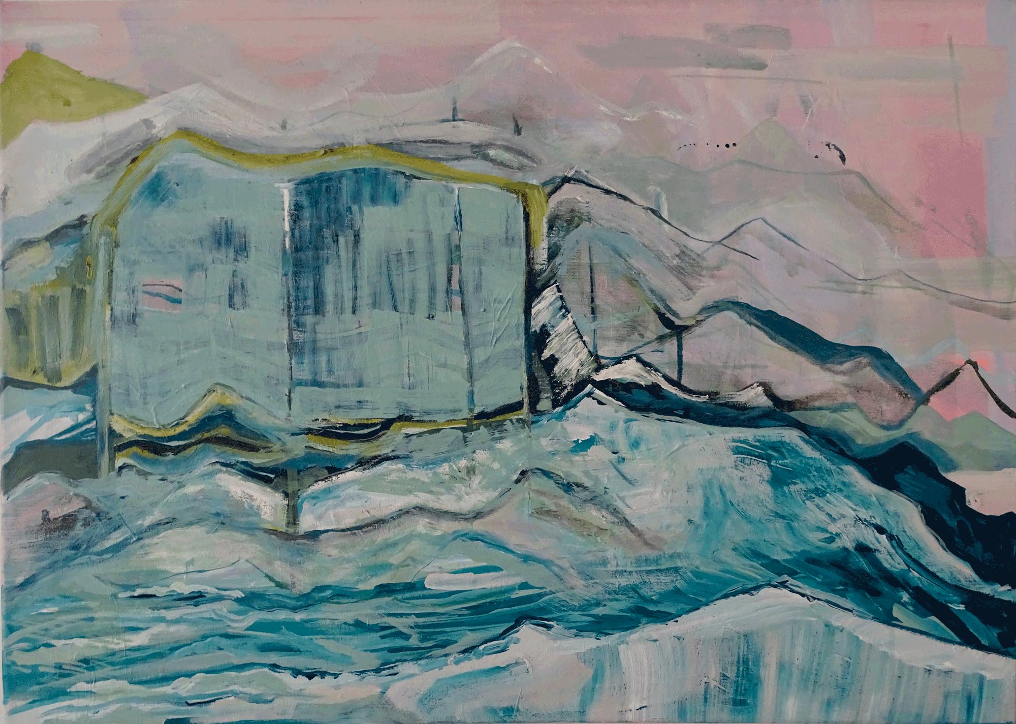 Yvonne Andreini, Acid Sea, 2019, 50 x 70 cm, Acryl und Öl auf Leinwand