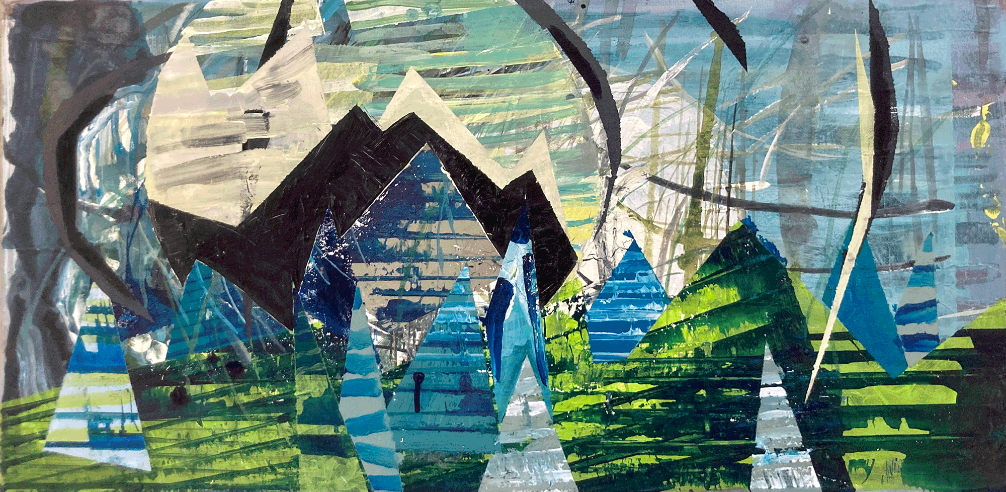 Yvonne Andreini, Landschaft, 2021, 15 x 30 cm, Tusche und Acryl auf Leinwand