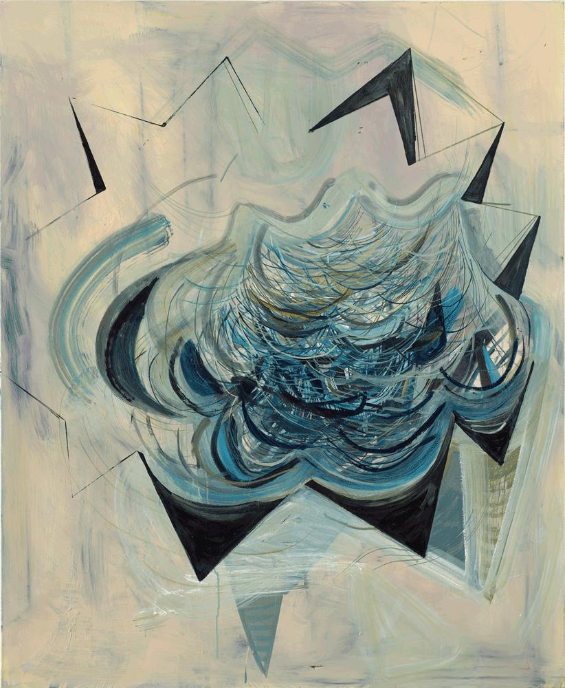 Yvonne Andreini, Dinner with Ghosts, 2000, 160 x 130 cm, Tusche und Öl auf Leinwand