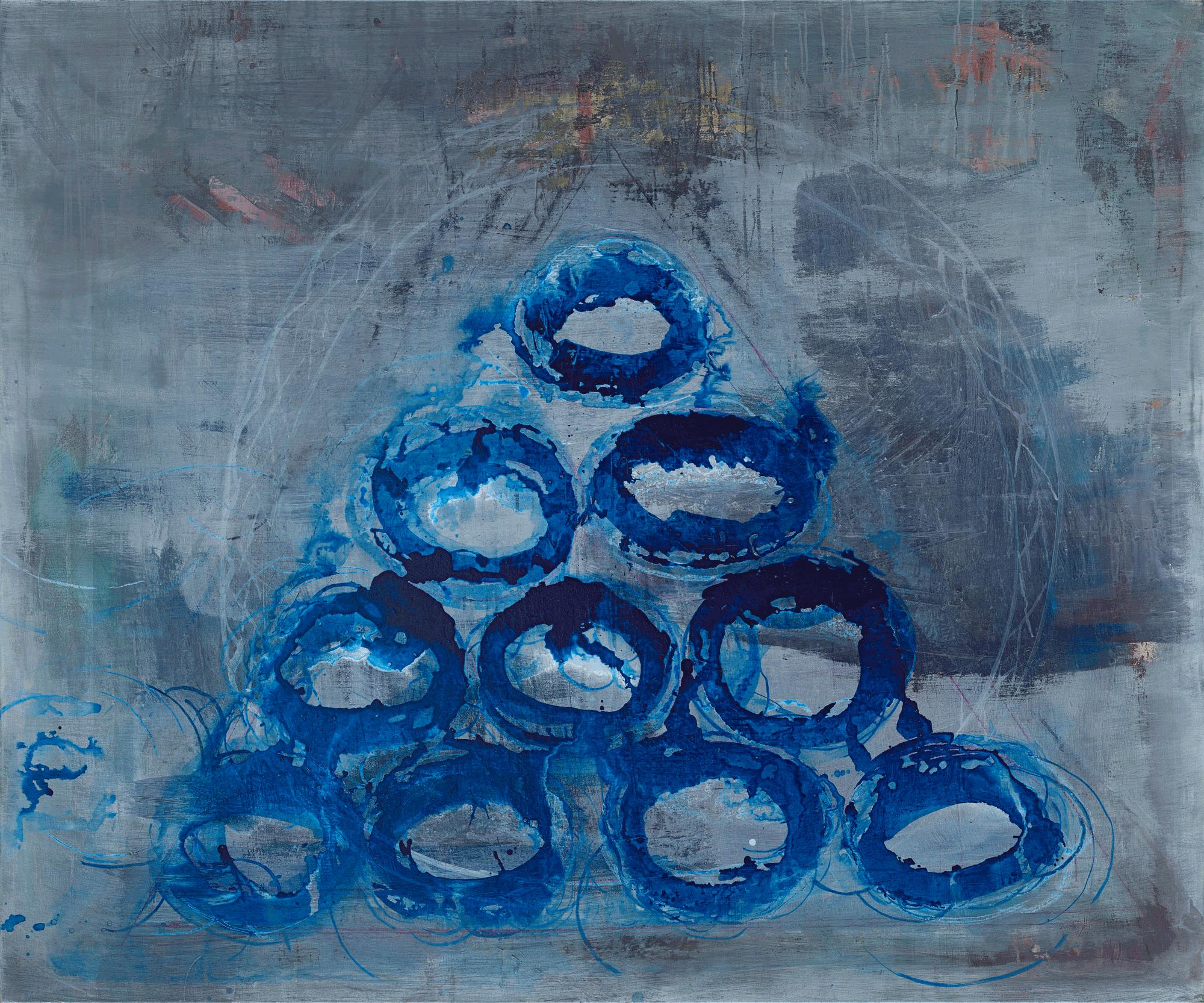Yvonne Andreini, Ouroboros, 2020, 170 x 200 cm, Tusche und Öl auf Leinwand