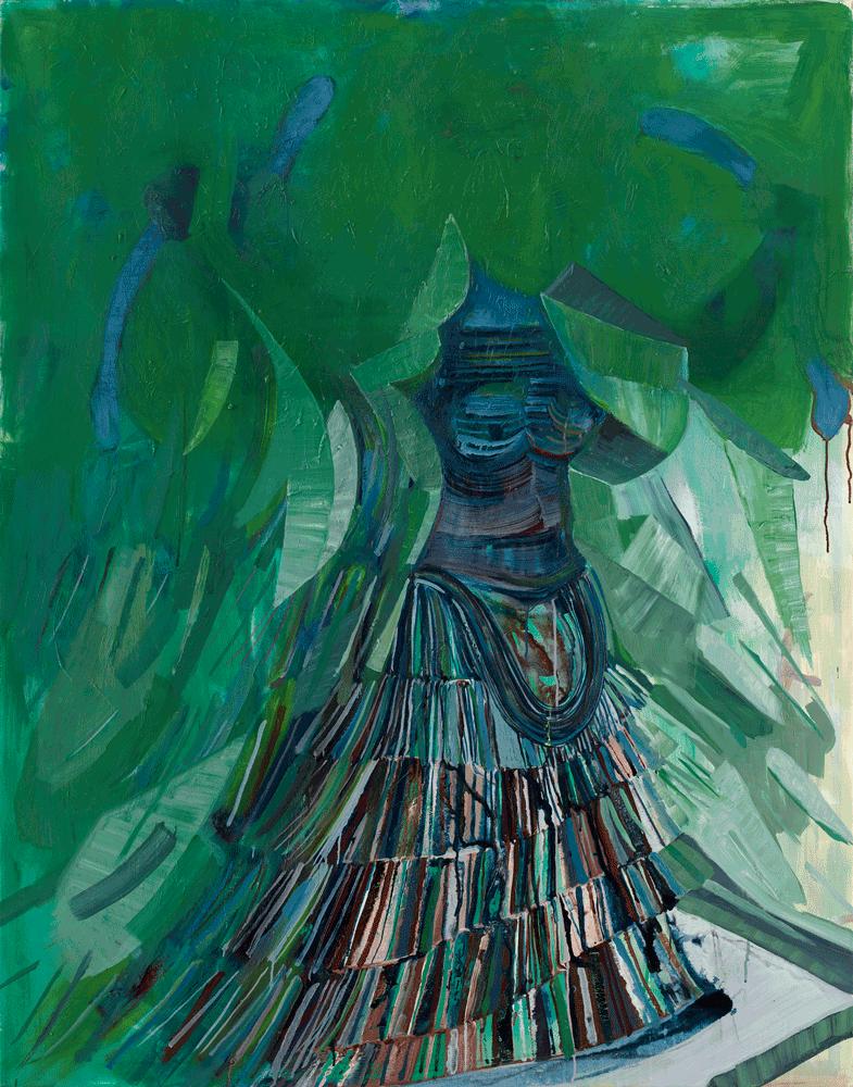 Yvonne Andreini, Schlangengöttin, 2020, 160 x 125 cm, Tusche und Öl auf Leinwand