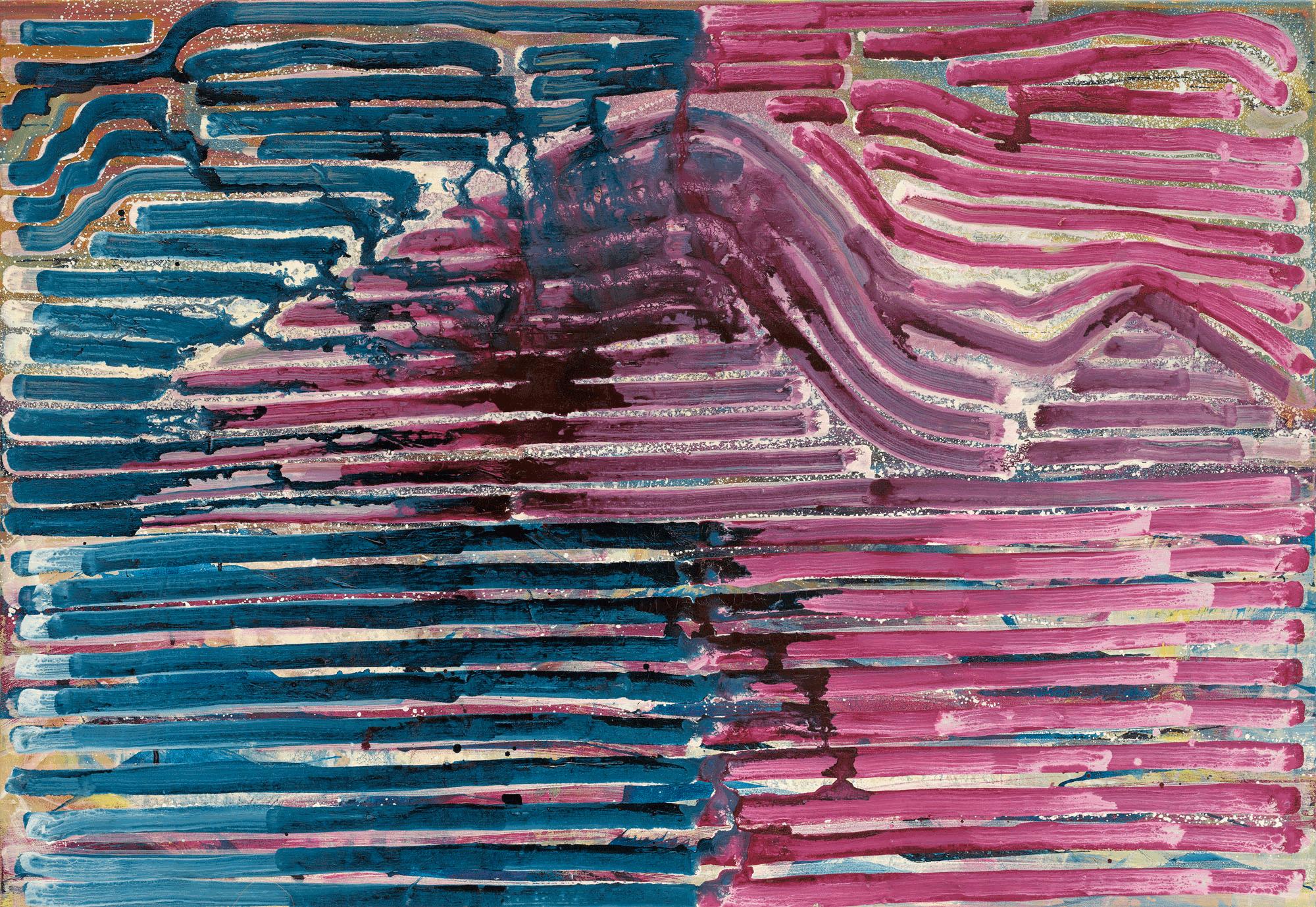 Yvonne Andreini, Die Insel, 2019, 160 x 110 cm, Tusche und Öl auf Leinwand