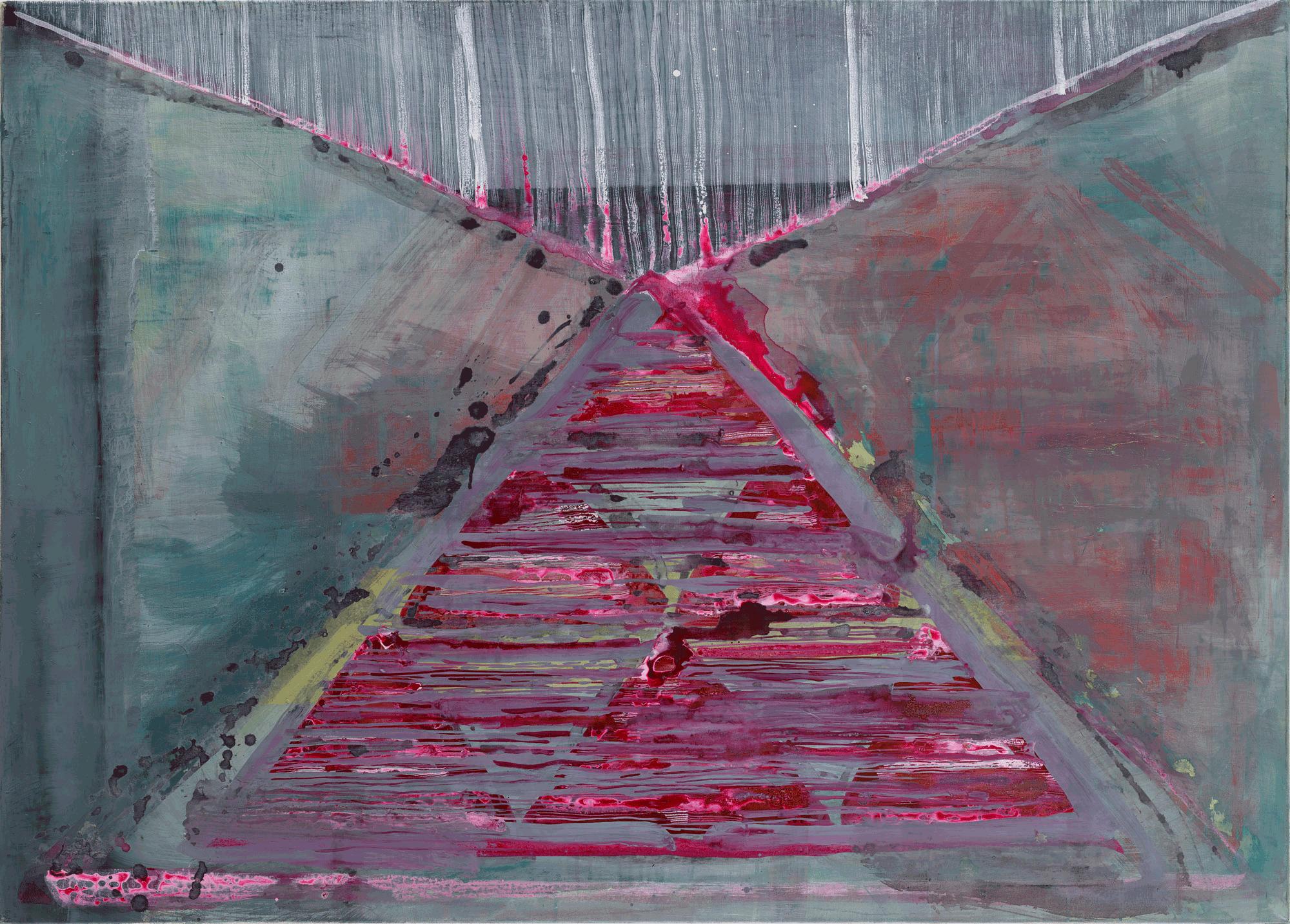 Yvonne Andreini, Pyramid, 2020, 100 x 140 cm, Tusche und Öl auf Leinwand