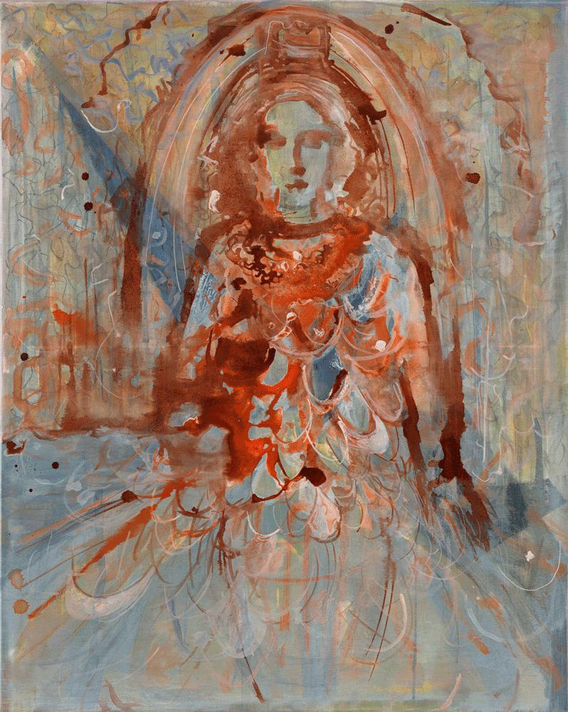 Yvonne Andreini, (Göttin I) Fontana dell´Abbondanza, 2020, 100 x 80 cm, Tusche auf Leinwand