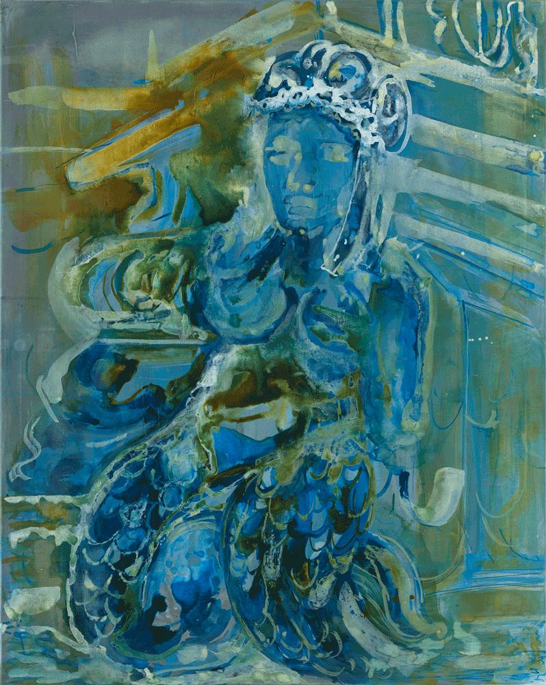 Yvonne Andreini, (Göttin II) Fontana del Nettuno, 2020, 100 x 80 cm, Tusche auf Leinwand