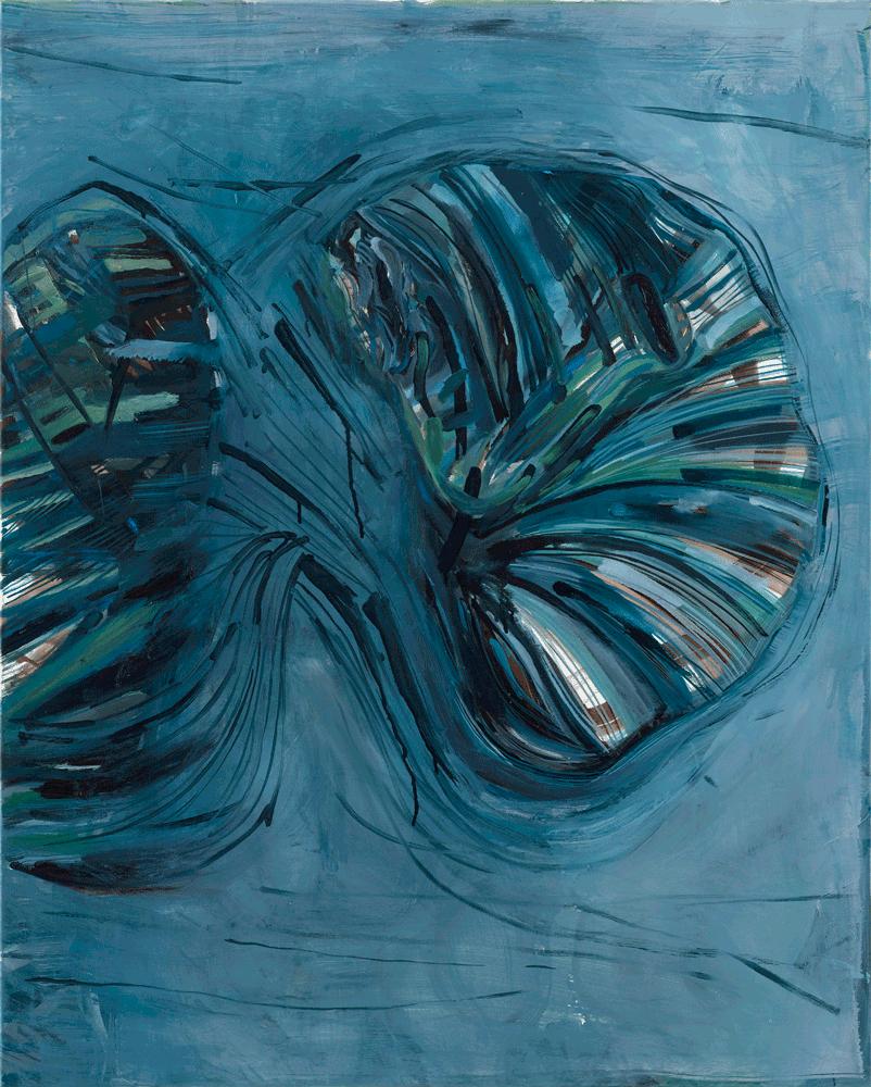 Yvonne Andreini, Flügel, 2020, 100 x 80 cm, Tusche und Öl auf Leinwand