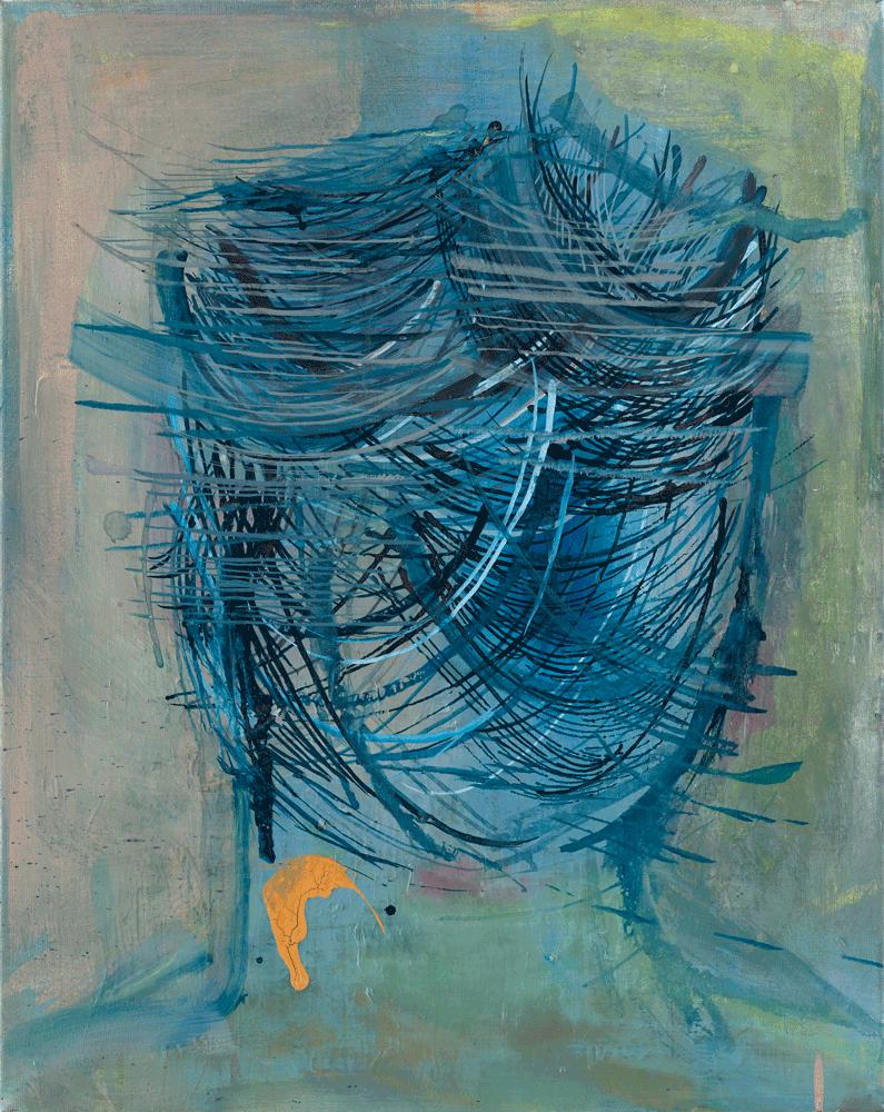 Yvonne Andreini, Portrait (Geist), 2020, 50 x 40 cm, Tusche und Öl auf Leinwand