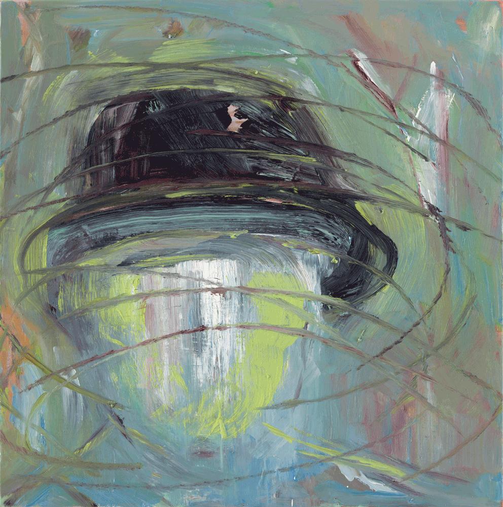 Yvonne Andreini, (Portrait) Unter einem Hut, 2019, 40x40cm, Tusche und Öl auf Leinwand