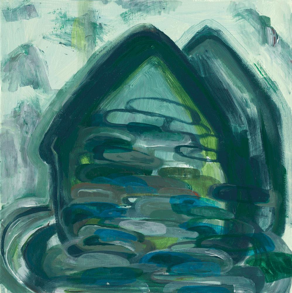 Yvonne Andreini, Heimat, 2019, 19,4 x 40 cm, Tusche und Öl auf Leinwand