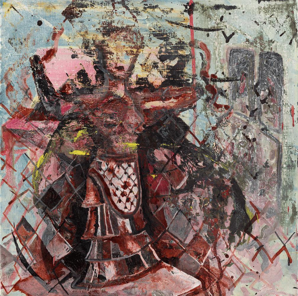 Yvonne Andreini, Schlangengöttin II, 2020, 40 x 40 cm, Tusche und Öl auf Leinwand