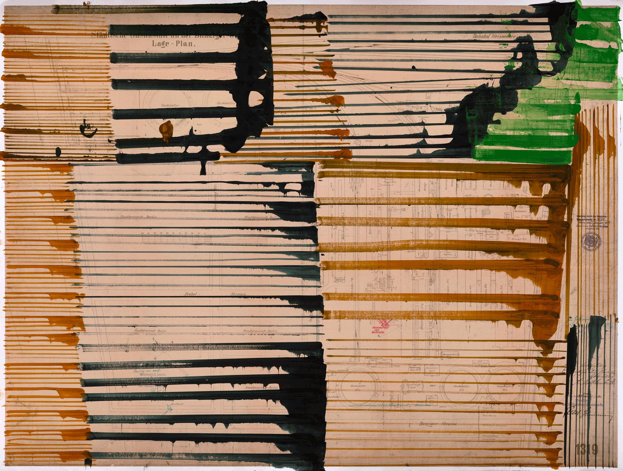 Yvonne Andreini, Time Layers II, 2020, 45 x 60.cm, Tusche und Acryl auf Papier