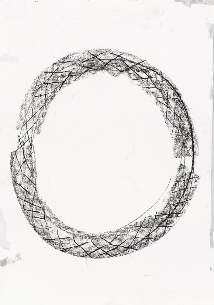 Yvonne Andreini, Ouroboros, 2020, 50 x 70 cm, Kohle auf Papier