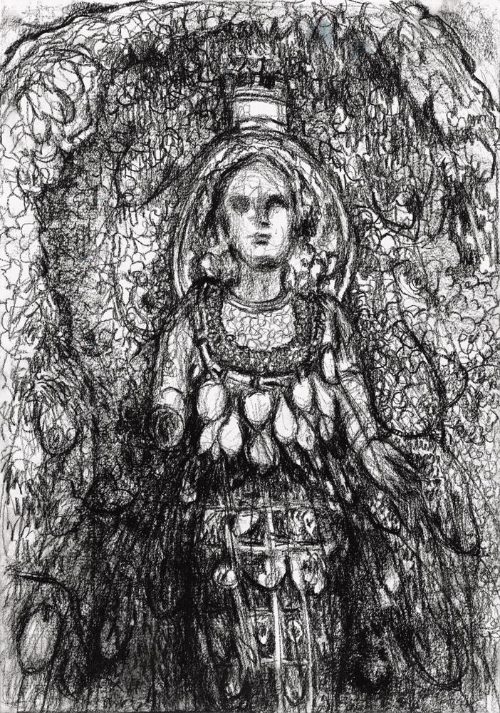 Yvonne Andreini, Ohne Titel, 2020, 20,5 x 70 cm, Kohle auf Papier