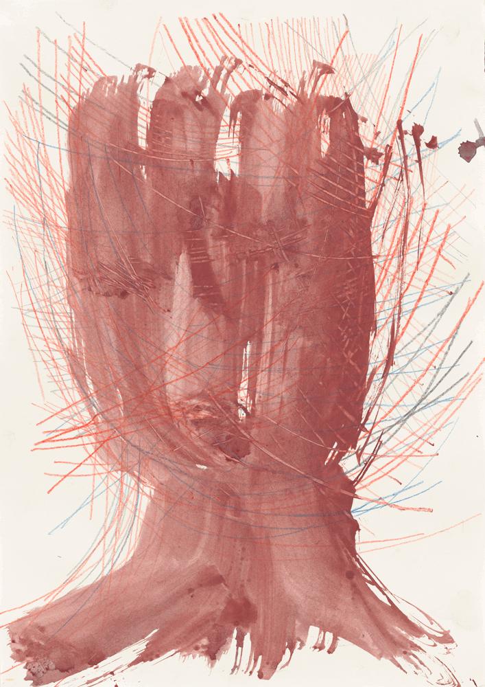 Yvonne Andreini, Kopf, 2019, 21,5 x 40 cm, Tusche und Buntstift