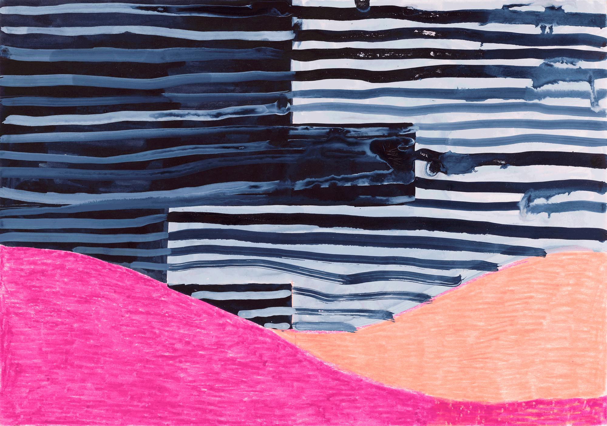 Yvonne Andreini, Moving Roots, 2019, 20 x 30 cm, Buntstift und Tusche auf Papier