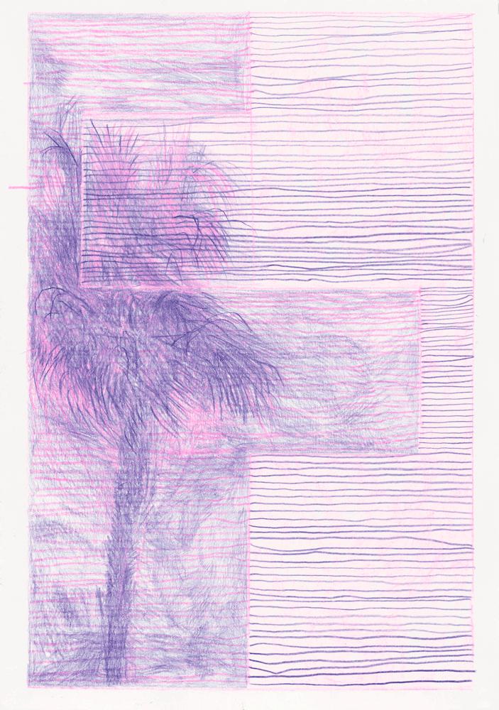 Yvonne Andreini, Moving Roots, 2019, 30 x 20 cm, Buntstift auf Papier