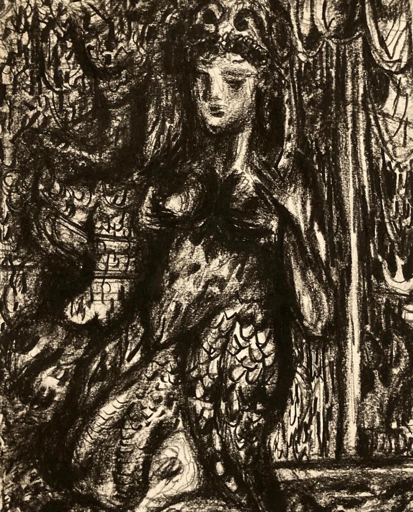 Yvonne Andreini, Göttin (Fontana del Nettuno), 2019, 28 x 21 cm, Kohle auf Papier (falsches Jahr?)
