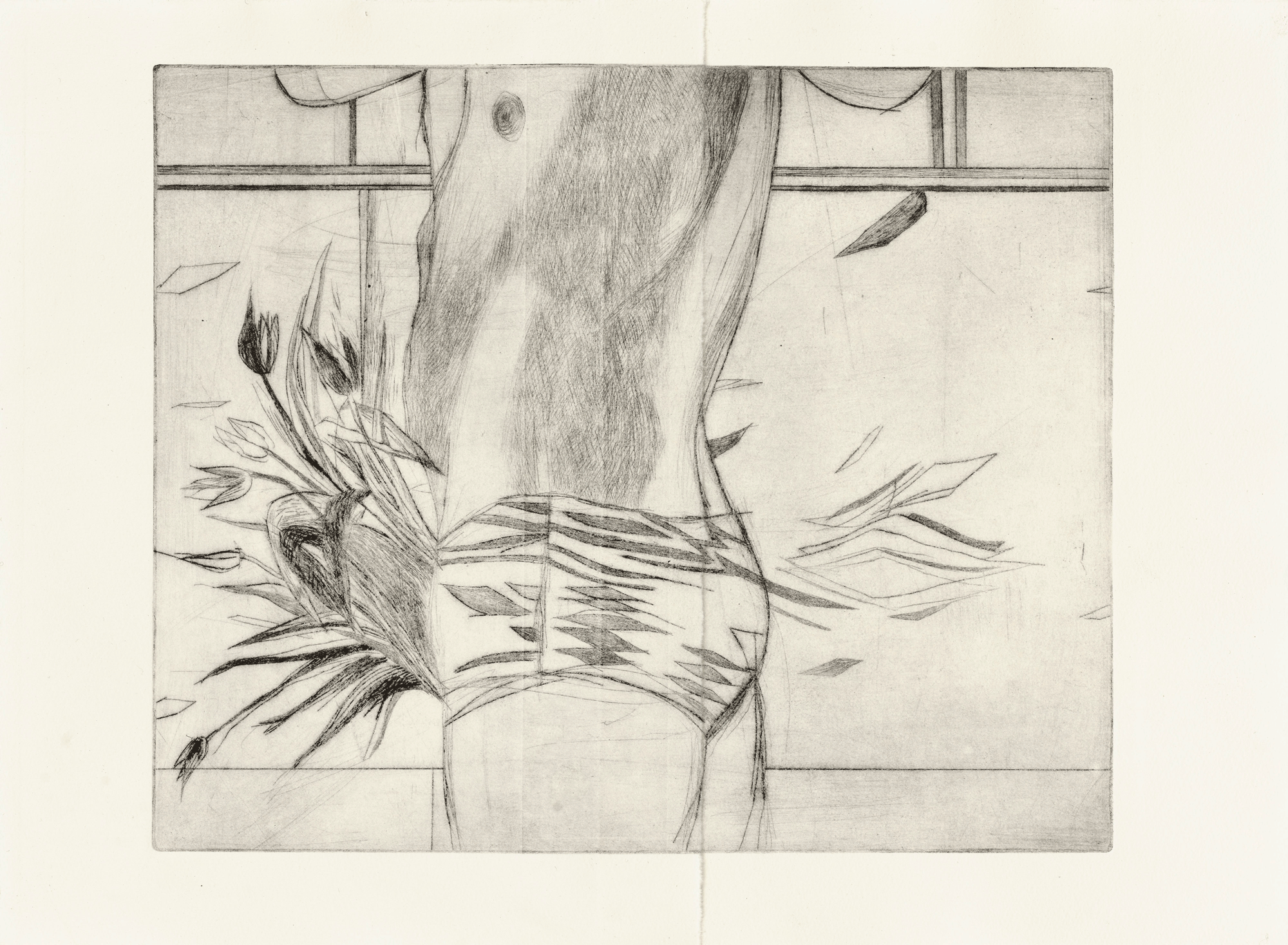 Yvonne Andreini, Blumen, 2021, 30 x 40 cm, Kaltnadelradierung
