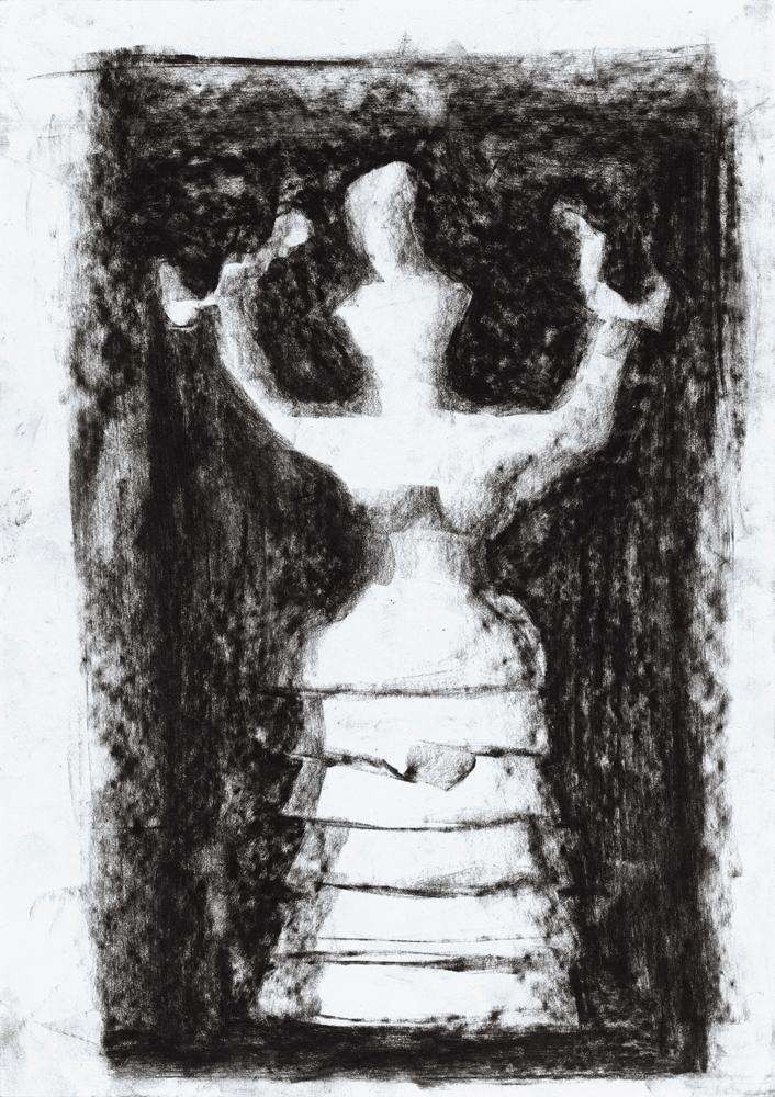 Yvonne Andreini, Dea dei Serpenti, 2020, 28 x 21 cm, Kohle auf Papier