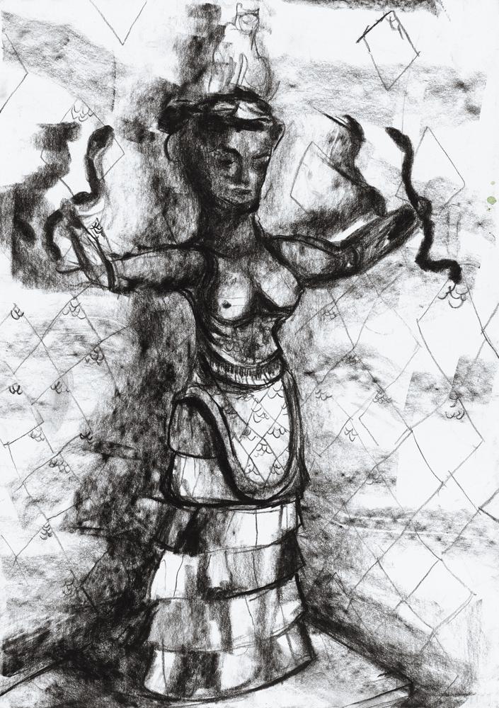 Yvonne Andreini, Dea dei Serpenti II, 2020, 28 x 21 cm, Kohle auf Papier