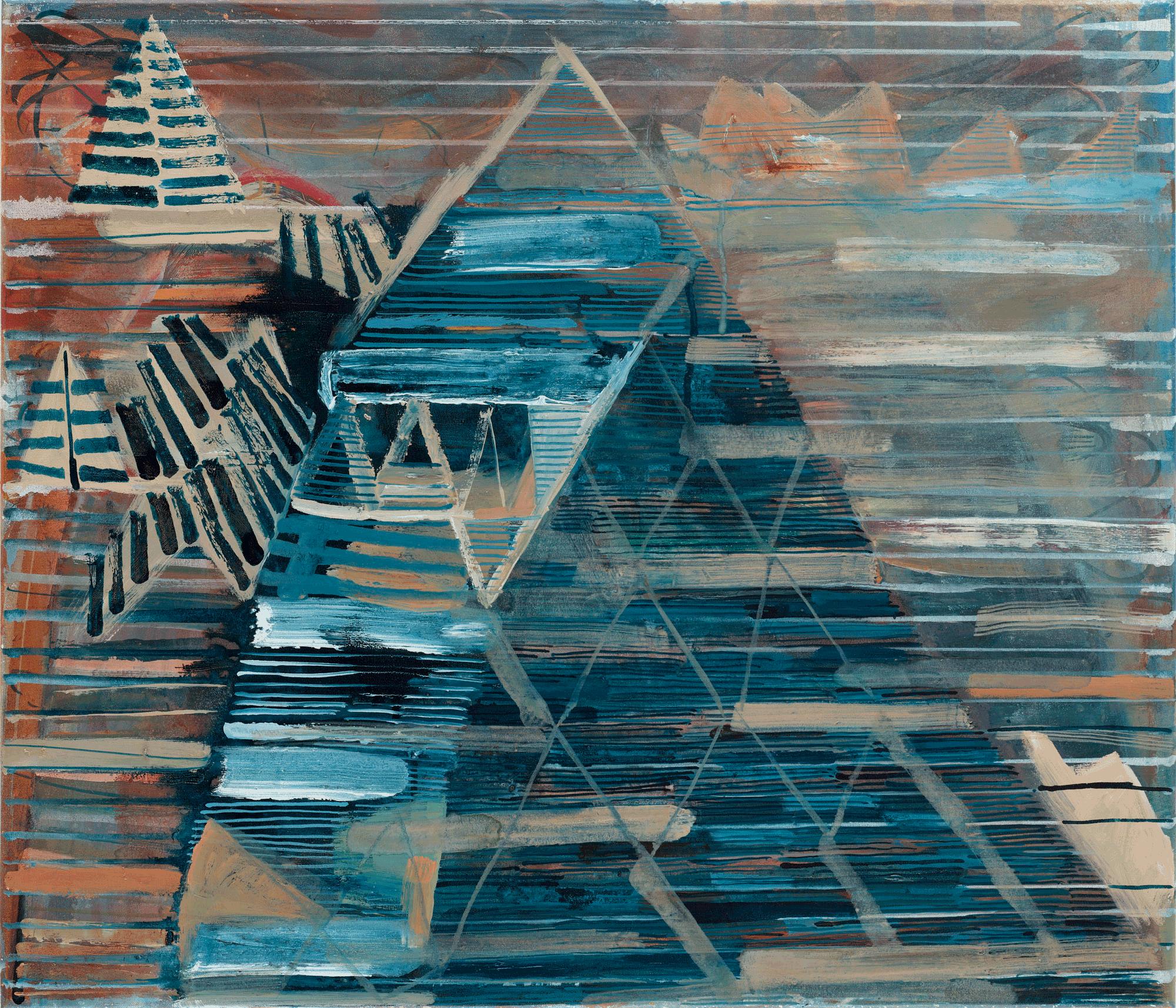 Yvonne Andreini, Landschaft, 2021, 60 x 70 cm, Tusche und Öl auf Leinwand