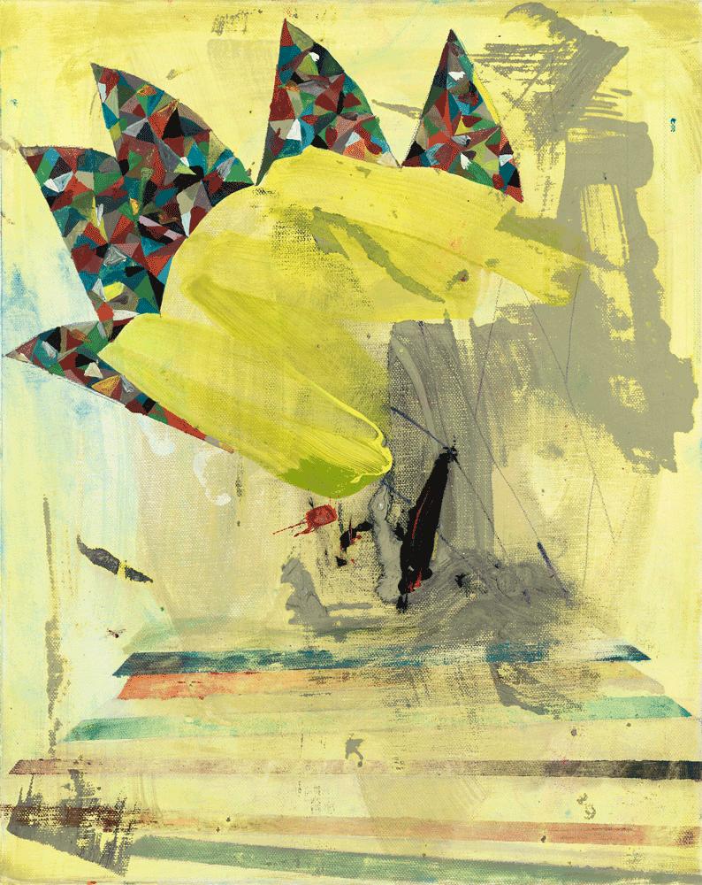 Yvonne Andreini, Multicolor Brain II, 2021, 70 x 50 cm, Tusche und Öl auf Leinwand