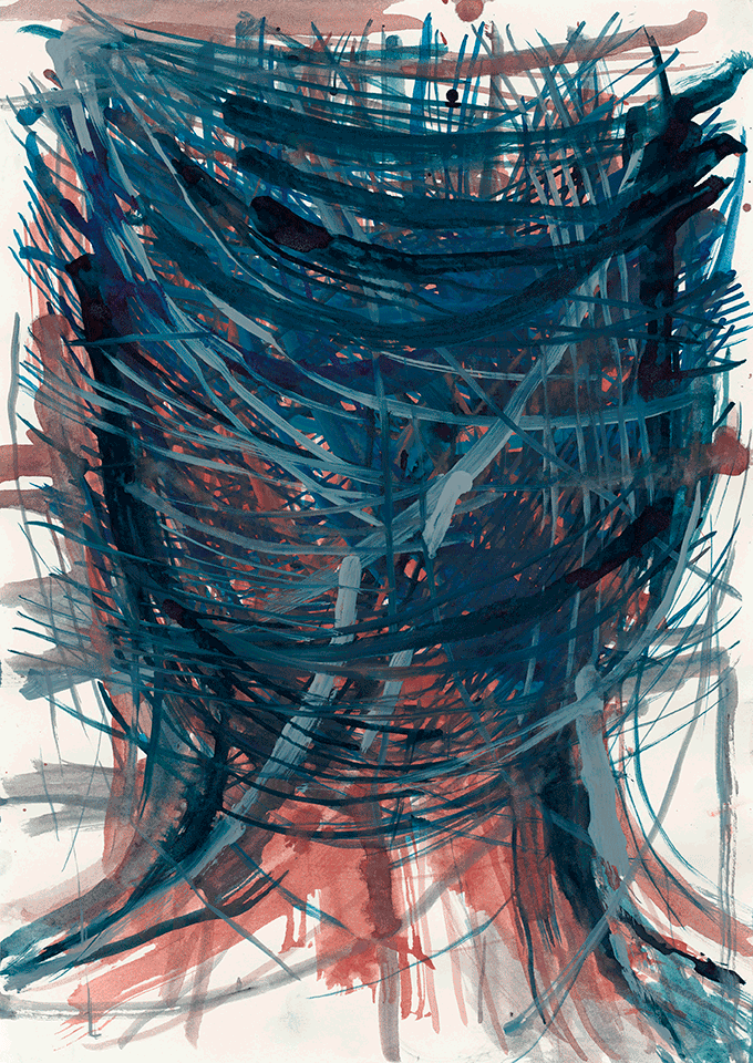 Yvonne Andreini, Kopf, 2021, 50 x 40 cm, Tusche auf Papier